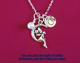 Personalized Fairy Necklace, Gift for Little Girl Jewelry, Moon Present, Silver Crescent Moon angel sitting Long short Canadian Seller