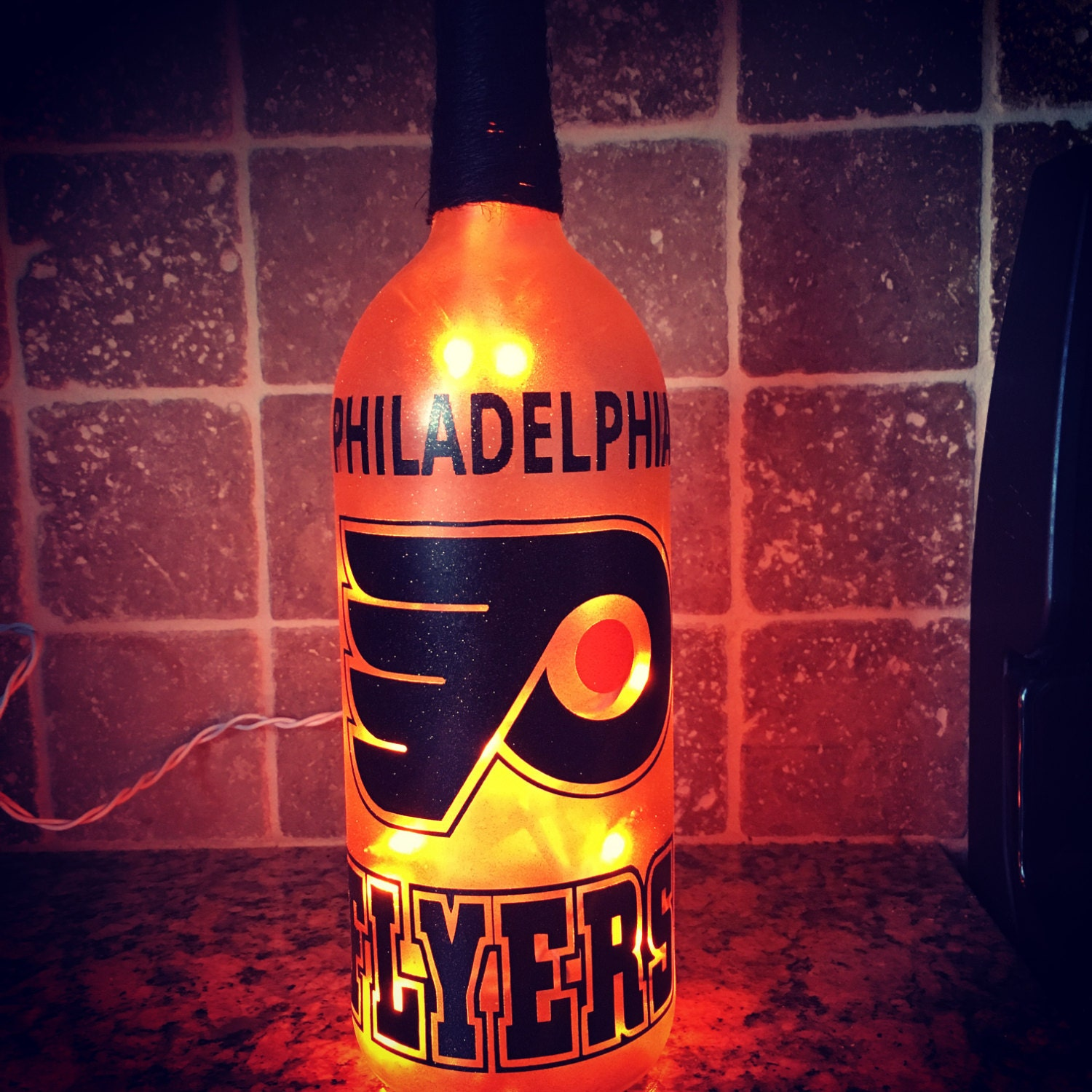 christmas flyer philadelphia flyers wine bottle light