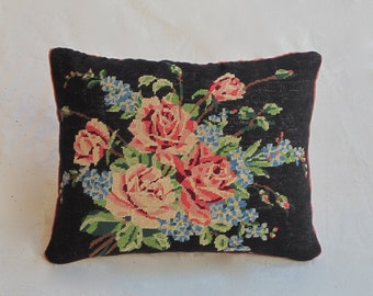 Needle Point Tapestry Rose Cushion
