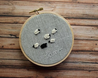Little sheep embroidery hoop