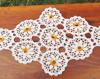 Vintage Crocheted Doilies, Set of 3, Orange and Cream, Vintage Home Decor