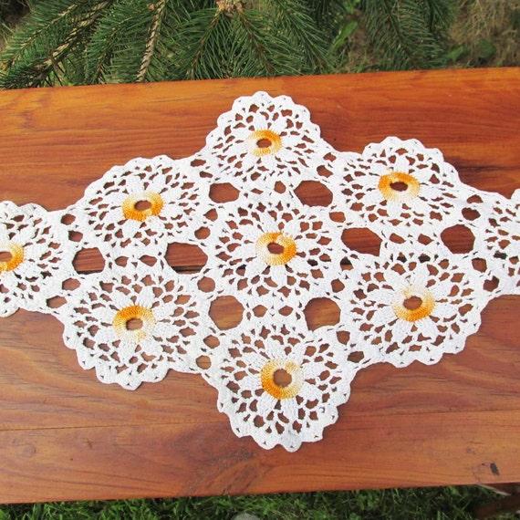 Vintage Crocheted Doilies Set Of 3 Orange And Cream Vintage