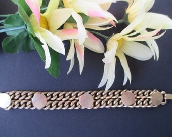 Chain Bracelet * With Five Disk Accents * Vintage REINAD