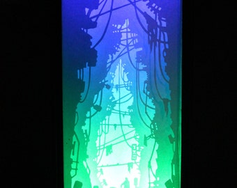 Wireroad-cyberpunk road-Dreambox 001-paper shadow box light sculpture