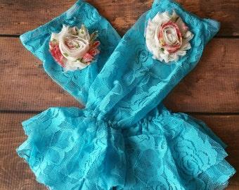 Couture Aqua Lace Petti Ruffled Leg Warmers - aqua ruffled lace leg warmers, shabby rose, girls lace leg warmers, girls leggings