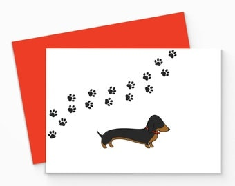 Printable Dachshund Paw Prints Card. Dachshund Blank Card, printable. Lovely Dog Greeting Card. Printable Sausage Dog Greeting Card.