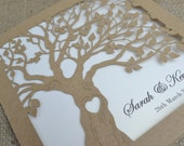 Laser Cut Invitation, Rustic Wedding Invitation, Laser Cut Tree Invitation