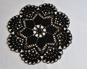 Crochet doily / Lace / Black (color Nr.6)/ 10 inches (26 cm), D-9