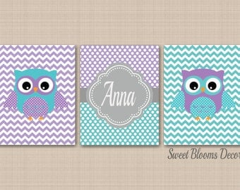 Owl Nursery Decor,Teal Purple Nursery Wall Art,Owl Nursery Wall Art,Lavender Teal Nursery,Purple Aqua Owl Art,Chevron Owl Nursery Decor C235