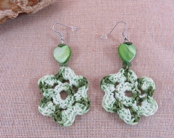 Earrings jewelry green cotton crochet earring Pearl mother of Pearl heart jewelry woman girl crocheted textile jewelry hand-made