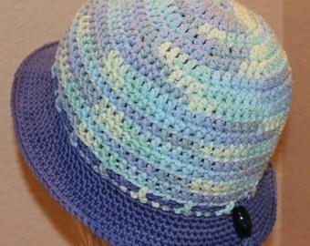 Blue brim crochet hat, summer hat, crochet sun hat, womens hat, crochet hat, handmade hat, crochet panama hat, crochet hat, blue beach hat