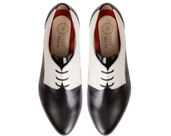 Woman Oxford Shoes - Woman Oxford - White Black Woman Shoes - Leather Oxford - Leather Shoes - Oxford - Oxford Shoes - Zapato Mujer