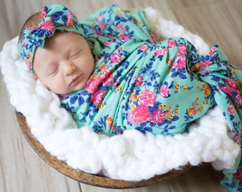 Emilee's Floral Newborn Swaddle Set | Aqua, Pink, Floral, Blue, Bright, Vintage Bring Me Home Girl Swaddle Set