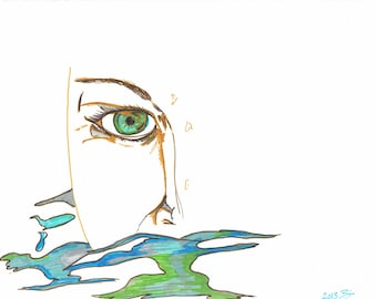 Swimmer Drawing, Ocean Art, Swimmer in the Sea, Ocean Swimmer Art, Beach House Art, Beach Decor, Beach Wall Art, Swim Art Print
