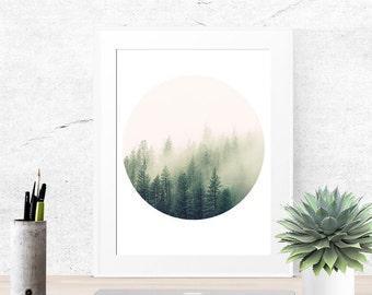 Tree print, Forest print, Tree art, Nature print, Green art, Wall art bedroom, Photo wall art, Wall art bathroom, art print abstract