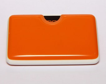 Orange Business card holder with white detail