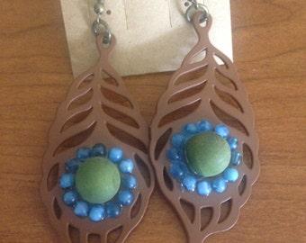 Boho Metal feather earrings with embellishment