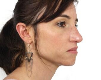 Thai Silver Triangle with Chain Drape Earrings