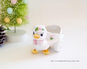 Vintage Duck Planter - Vintage Easter Planter - Easter Decor - Easter Basket Item