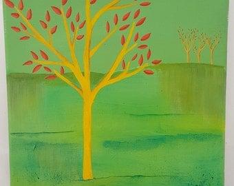Golden tree landscape painting