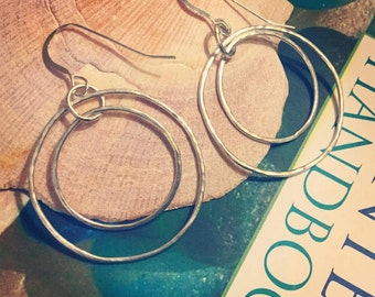 Sterling Silver Hammered Hoop Dangle Earrings