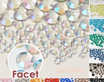 110pcs Mixed 3,5,8,10mm Faceted Round Acrylic Flat Back Rhinestones Cabochons Deco Scrapbooking Nail Art Craft - Iridescent OR Colors