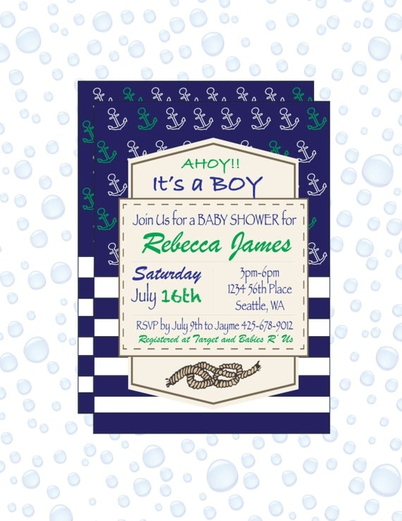 DIGITAL - Blue baby shower anchor invitation - baby shower invitation - Printable invitation - baby shower invitation boy