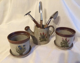 Vintage Takahashi San Francisco Specled watering can, 2 small pots and small gardening tools - Made in Japan