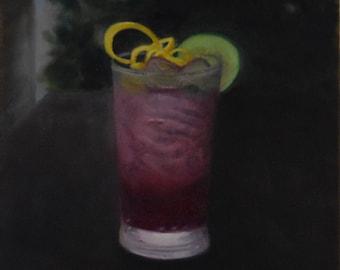 Imbibing: Pink Gin  (12 x 16 framable size)
