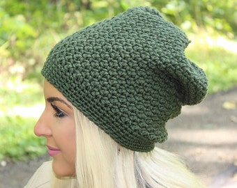 Women's Slouchy Hat, Crochet Slouchy Hat, Women's Hat, Crochet Hat, Women's Crochet Hat, Women's Accessories, Green Slouchy Hat, THE DENALI