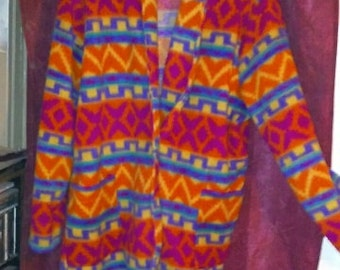 hippie fleece coat colorful