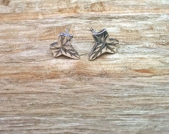 Fine silver ivy leaf stud earrings