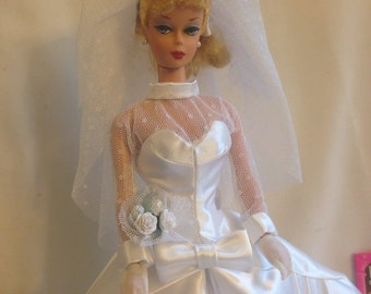 Ooak Beautiful Bride Reproduction Wedding Dress for Vintage and Repro Barbie Dolls
