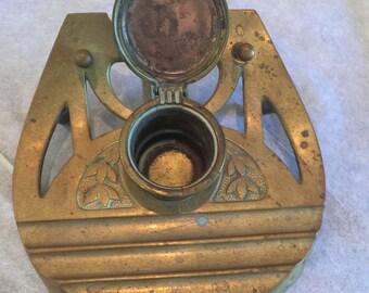 """Inkwell Art Nouveau Solid Brass or Bronze """"Geschutzt"""" 1920s"""