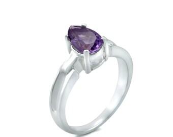 Silver Amethyst Ring Genuine Amethyst Gemstone Ring Sterling Silver Amethyst Ring February Birthstone Ring Amethyst Engagement Ring