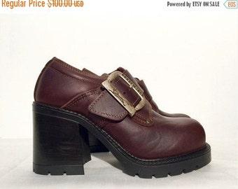 20% OFF Vtg Gordon Jack Leather Chunky Heel Brown Platform Shoes