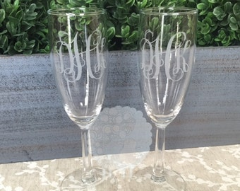 Etched Monogram Champagne Flutes - set of 2