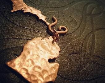 Hand made Michigan copper earrings