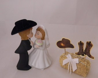 Wedding Reception Party Bride and Groom Western Cowboy Rancher Farmer cake topper