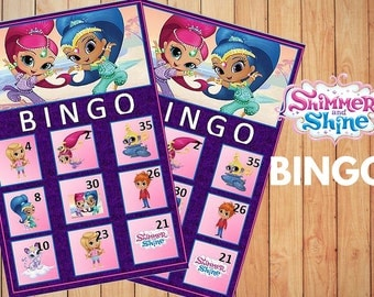 Shimmer and shine Bingo Game with 10 unique Bingo cards and 30 medium calling cards -  INSTANT DOWNLOAD
