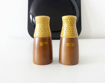 Teak wood and ceramic salt and pepper shakers | Mid Century Modern