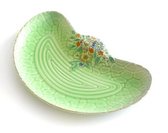 Vintage Crown Devon Garden Path crescent dish | Art Deco, 30s