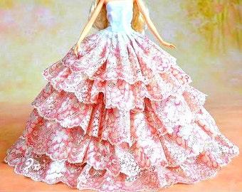 Barbie doll clothes, Colorful barbie gown, barbie clothes, Barbie dress, Barbie ballgown, Barbie doll, Barbie fashion, Barbie clothing