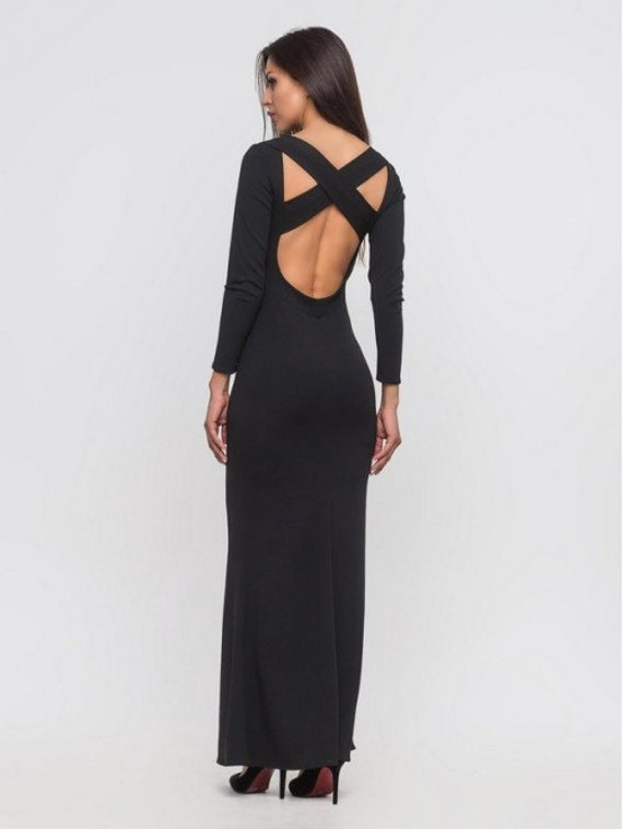 Black maxi dress for evening