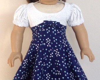 American Girl Doll Clothe American Girl Doll Dress 18 Inch Doll Clothes  American Girl Clothes Blue and White Fitted Dress with Hair Ribbon
