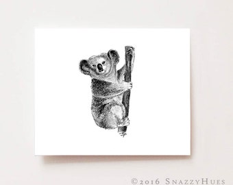 Nursery wall art, Koala - Fine art Giclee print, charcoal drawing, black and white, animal print, nursery art, nursery decor, koala print