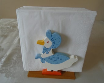 hand painted wooden napkin holder geese design.