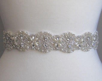 Bridal Sash, Bridal Belt, Wedding Sash, Beaded Belt, Crystal Sash, Rhinestone Belt, Wedding Dress Sash, Wedding Dress Belt 96-8
