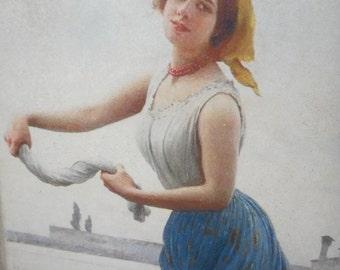 "Reclaimed wood-Image transfer image transfer of reclaimed wood-Eugene De Blaas ""Washerwoman"" (1912)"