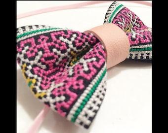 Hmong embroidered bow headband